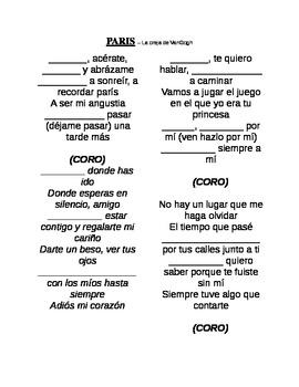 Cancion:  Paris (oreja de van gogh) lyrics