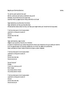 "Canción - ""Soy Yo"" - IPA-like activity and listening activity"