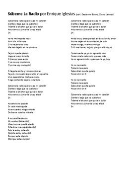 """Canción - """"Súbeme la radio"""" by Enrique Iglesias - Lyric activity and quiz"""