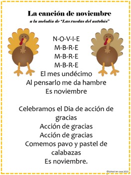 Cancion de noviembre - November Calendar Song, Spanish [Dual Immersion]