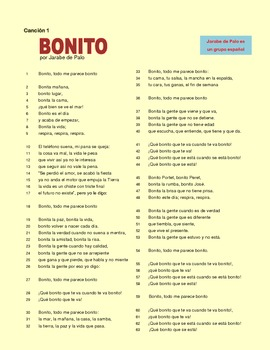 Canciones en español. Letra y ejercicios. Songs in Spanish for Spanish class