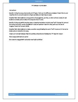 Canciones para aprender vocabulario y verbos 1