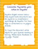 Canciones populares para niños en Español/ Popular songs for children in Spanish