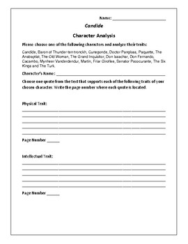 Candide Character Analysis Activity - Francois Voltaire