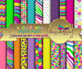 Candied Rainbow digital paper, commercial use, scrapbook papers