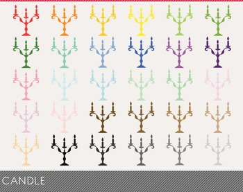 Candle Digital Clipart, Candle Graphics, Candle PNG, Rainbow Candle Digital