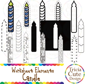 Candle Worksheet Elements Clip Art for Tracing Cutting Puzzle Maze