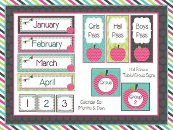 Candy Apple Classroom Decoration Pack (Pink, Turquoise, Lime, & Gray)