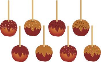 Candy Apple Clip Art, Apple Clipart, Fall Clip art, Caramel Apple Clipart