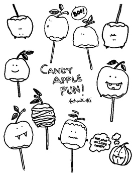 Candy Apple Fun clip art and coloring pages