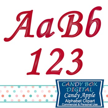 Candy Apple Red Cursive Alphabet Clip Art