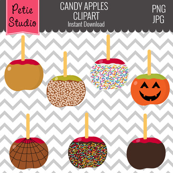 Candy Apples Clipart, Caramel Apples, Halloween Apples - Fall136