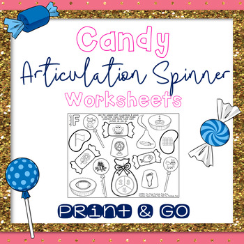 Candy Theme Articulation Spinner Worksheets - Print & Go Speech Therapy Activity