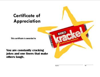 Candy Award Certificates