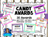 Candy Award Certificates End of the Year - Editable and PDF Version