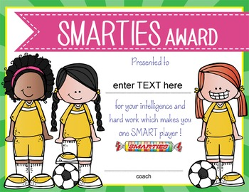 SOCCER - girls - Candy Award Certificates - editable MS Power Point