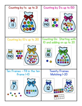 Candy Bag Math - 6 Differentiated Math Center Activities - Counting, Ten Frames