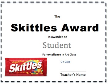 Candy Bar Award Certificate Sample Pack