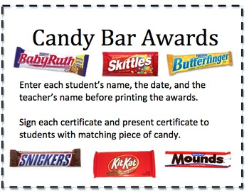 Candy Bar Award Certificates by All Star Resources | TpT