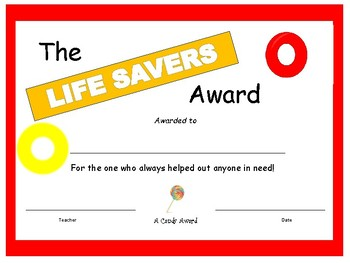 Candy Bar Award - Life Savers