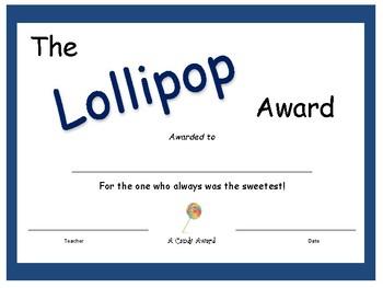 Candy Bar Award - Lollipop