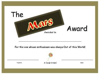 Candy Bar Award - Mars