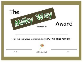 Candy Bar Award - Milky Way