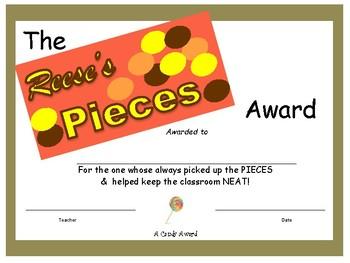 Candy Bar Award - Reese's Pieces