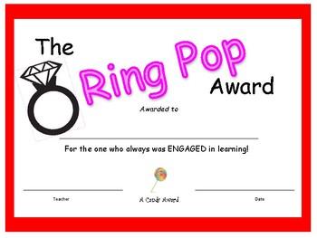 Candy Bar Award - Ring Pop