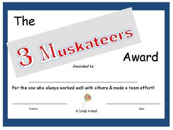 Candy Bar Award - 3 Muskateers