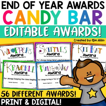 End of Year Awards - Editable Candy Bar Awards