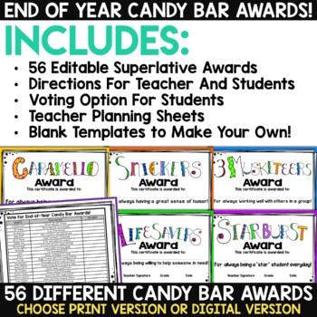 End of Year Awards - Editable Candy Bar Awards