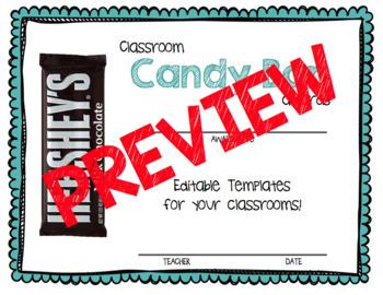 Candy Bar Awards - EDITABLE