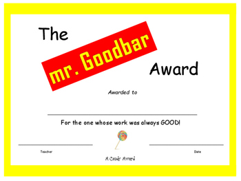 Candy Bar Awards - End of the Year Awards