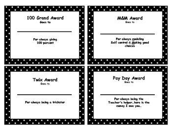 Candy Bar Awards- Polka Dots