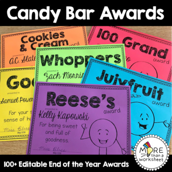 Candy Bar End of the Year Awards {Editable!}