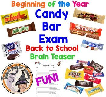 Beginning of Year FUN Candy Bar Exam Back To School Brain Teaser Activity