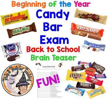 Beginning of Year FUN Candy Bar Exam Back To School Brain