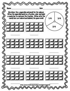 Candy Bar Fractions-FUN! Activity and Interactive, NO PREP Printables