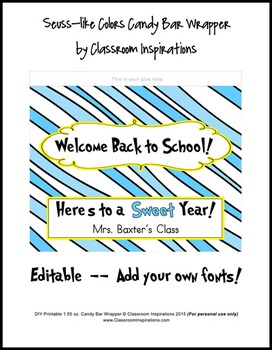 Candy Bar Wrapper – Coordinates with Seuss-like Colors Classroom Theme