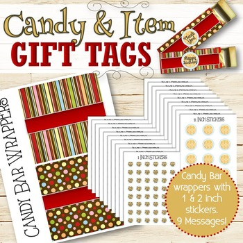 Candy Bar Wrappers and Gift Tags - INSTANT DOWNLOAD