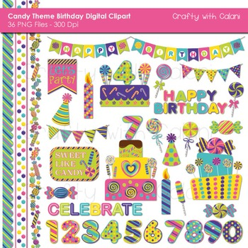 Candy Birthday Clip Art Set in Bright Color