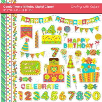 Candy Birthday Clip Art Set in Neon Color