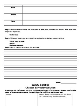 Candy Bomber Chapter worksheets and activities