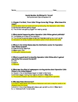 Candy Bomber Comprehension Quiz ANSWER KEY, Chapters 4-6
