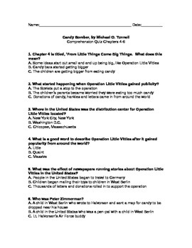 Candy Bomber Comprehension Quiz, Chapters 4-6