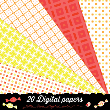 Candy Box - 20 Digital Papers in White, Yellow, Orange and Red