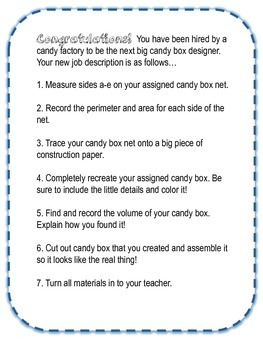 Candy Box Math- A Hands on Approach to Perimeter, Area, and Volume!