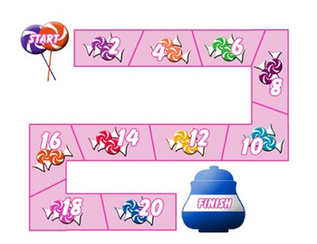 Candy Themed Counting by Twos File Folder Game