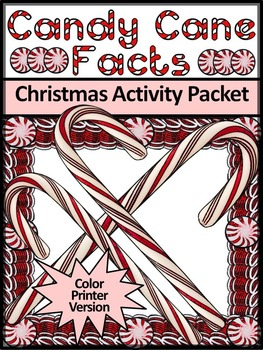 Candy Cane Activities: Candy Cane Facts Christmas Activity Packet -Color Version